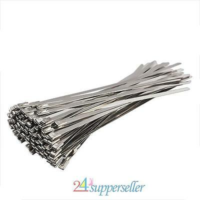 100Pcs Stainless Steel Exhaust Wrap Straps Metal Coated Locking Cable Zip Ties