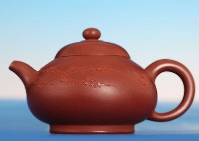 Rare Antique Chinese Carved YiXing Zisha Pottery Teapot GuJingZhou Marks PT072