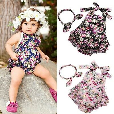 Adorable Baby Girl Floral Ruffle Romper Jumper Jumpsuit Sunsuit Outfits Clothes
