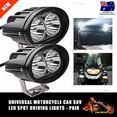 2x Universal Motorcycle LED Running Driving Fog Head Spot Light Lamps Headlight