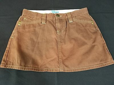 GAP Kids Girls Brown Denim Mini Skirt With Adjustable Tab Waist, Size 10 Regular