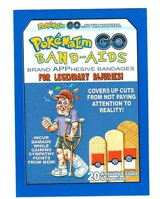 2017 Wacky Packages 50th Anniversary Blue Sticker Card -POKEMAIM BAND-AIDS-