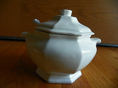 Vintage  Soup Tureen Lid and ladle white octagon  Japan