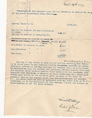 1898 Signed Contract Lewis Kalling Patent Bottle Stopperz Fastener Baltimore Md