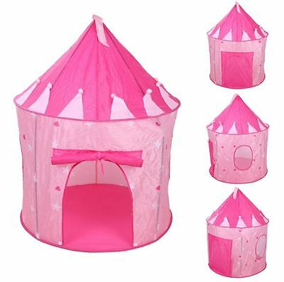 Portable Pop up Princess Play Tent Castle Cubby Kid Children Toy storage Pink
