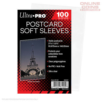 "ULTRA PRO - Postcard Sleeves 3-11/16"" X 5-3/4"" or 76mm x 146mm - 100 Pack"
