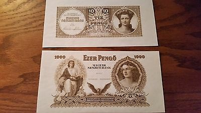 Hungary Essay 10 and 1000 Pengo Notes UNC