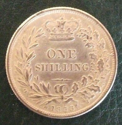 1853 Victoria Shilling, Copy, (FREE UK POSTAGE AVAILABLE)