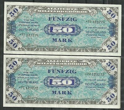 GERMANY ALLIED OCCUPATION WWII $50 MARK P.196d LOT OF 2 (XF) FROM 1944.