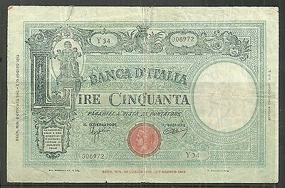 Italy $50 Lire P.65 (Fine) From 1943.