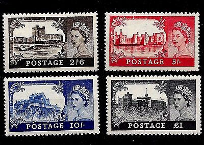 1955 (Ca6) Sg536-39 St Edwards Crn Wmk Waterlow Set Of 4 Castles Unmounted Mint