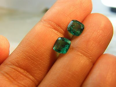2 Cts Biron (Usa Seller)  Created Emerald Size 6X6 Cushion 2 Pieces Pair