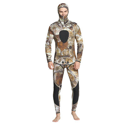 Men 3mm Camo Two-Piece Wetsuit for SCUBA Diving Spearfishing Surfing