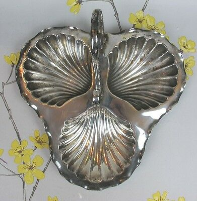 Vintage silver plated SCALLOP DISH with a handle. Serving snacks nuts sweets etc