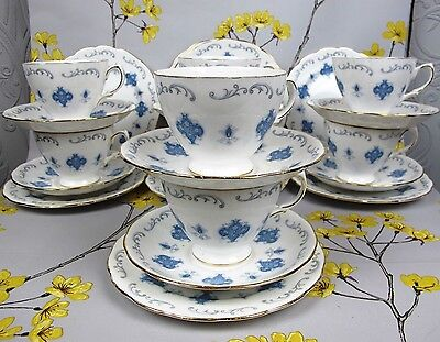 Vintage ROYAL OSBORNE bone china Tea Set/Service for 8. Blue & White Trios.