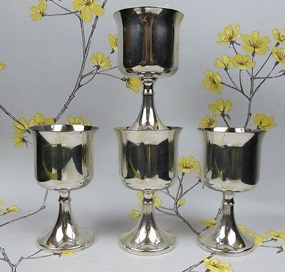Vintage set of 4 silver plated IANTE WINE GOBLETS / FOOTED CUPS / GLASSES. 12 cm