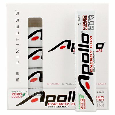 Apollo Energy Gum Supplement - Spearmint (5 Packs Of 5) | 25 Pieces = 125 Hours