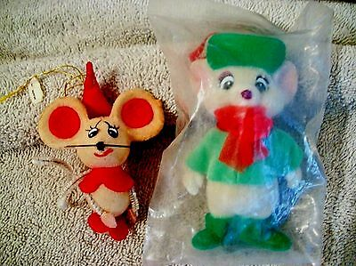 2 Vintage Flocked MICE Christmas Tree Ornaments Disney Bianca USA and JAPAN