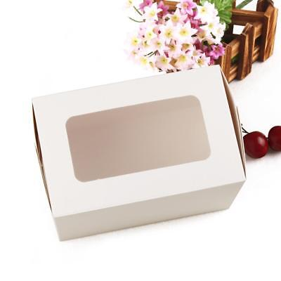 20x White Paper Cupcake Holder Bakery Boxes with Window Wedding Favor Box