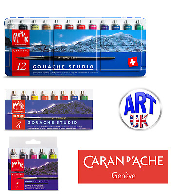 Caran d'Ache Artist Gouache Studio Set 10ml Paint Tubes Brush Metal Tin Box