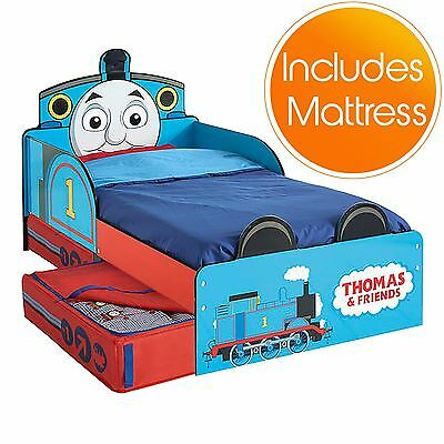 Thomas & Friends Mdf Toddler Bed With Storage & Deluxe Mattress Tank Engine