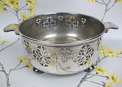 Vintage Silver Plated Mappin & Webb pierced BOWL / SERVER with handles and feet.