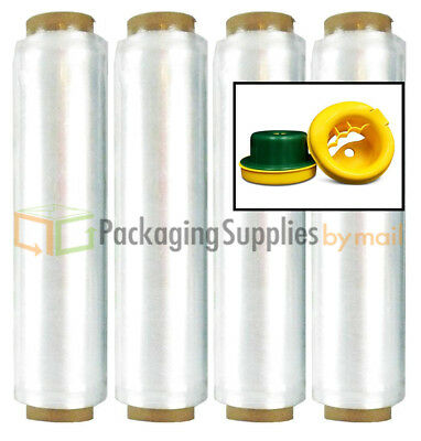 """Lot of 320 Rolls Clear Pre-Stretch Hand Wrap - 18"""" x 1476' 12 Mic. + Hand Saver"""
