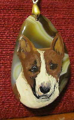 Bull Terrier - colored- hand painted on freeform, green Onyx Agate pendant/bead/