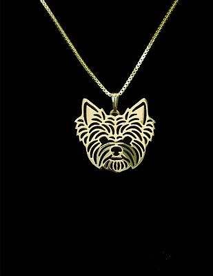 Yorkshire Terrier Yorkie Dog Pendant Necklace Gold ANIMAL RESCUE DONATION