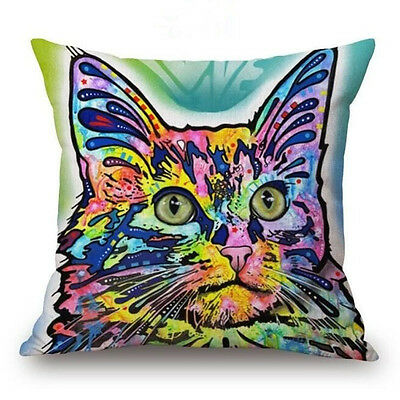 Cat #2 Throw Pillow Bright Colorful ANIMAL RESCUE DONATION