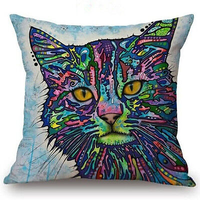 Cat #3 Throw Pillow Bright Colorful ANIMAL RESCUE DONATION