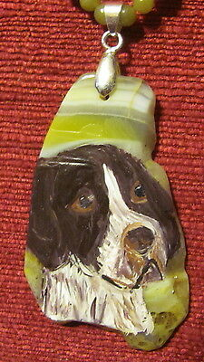 German Shorthaired Pointer hand painted on freeform Agate slice pendant/bead/nec