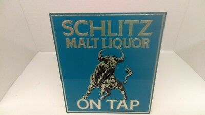 1971 Schlitz Malt Liquor On Tap Beer Glass Metal Foil Beer Sign With Bull 9 X 11