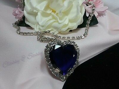 Vintage BIG Silver Rhinestone Heart of The Ocean Hope Blue Sapphire Necklace