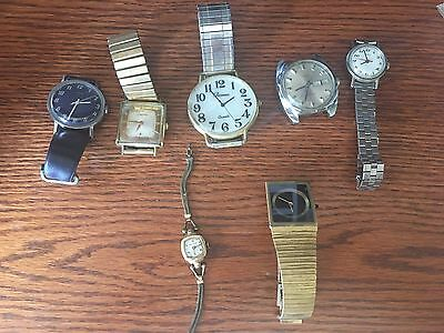 Vintage WATCH LOT Timex PARMEX BERNUS BULOVA Hamilton Gold Stainless 7 Total!!