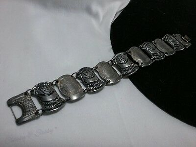 Vintage Estate 900 Silver Colombian Figural Face Eagle Ethnic Coin Ley Bracelet