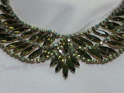 Vintage Gold Juliana High End Green Rhinestone Designer Navette Collar Necklace