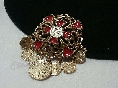 Vintage Gold Red Enamel Maltese Cross Queen Elizabeth Coin Filigree Brooch Pin