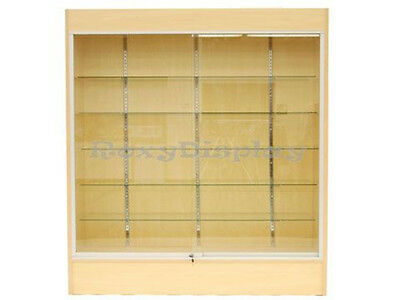 Maple Color Wall Display Case KNOCKED DOWN Showcase #SC-WC6M