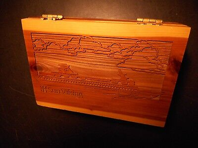 "Rare And Unusual Vintage ""sun Viking"" Laser Engraved Wooden Box - Pristine"