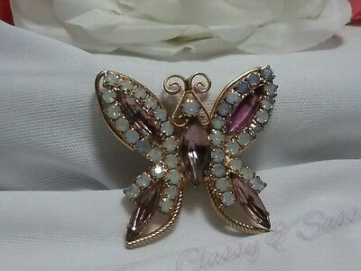 Vintage Gold Purple Rhinestone Opalescent Butterfly Rhinestone Brooch Pin