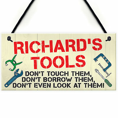 Personalised My Tools Man Cave Garage Shed Hanging Plaque Garden Gift Sign Funny