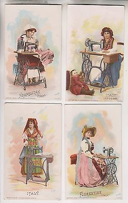 4 1892 Victorian Trade Cards - Italy - The Singer Manufacturing Co.
