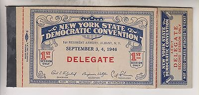 1946 New York State Democratic Convention Ticket Booklet - Delegate - Albany
