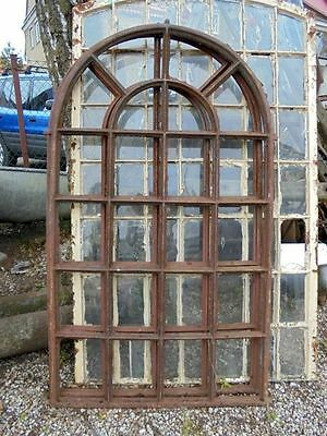 Huge  Vintage Iron Arched Industrial Cast Iron Metal Window Frame (2 available)