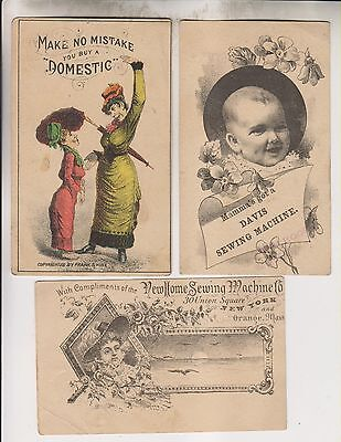 3 Vintage Trade Cards - Domestic Davis & New Home Sewing Machine Companies