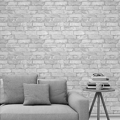 White Silver Rustic Brick Effect Wallpaper Windsor Wallcoverings - Fd41488 New