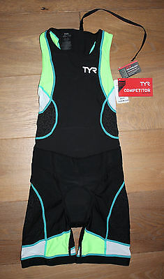 NEW TYR Womens COMPETITOR Back Zip TRISUIT - Black Lime Green - USA MADE - SMALL