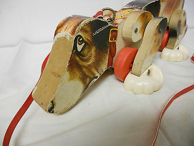 Vintage 1961 Fisher Price SNOOPY Wooden Pull Toy  Dog with Original Leash #181