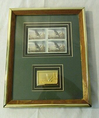 Framed Block Of Four 1990 Ducks Unlimited $5 Duck Stamps With Gold Tone Stamp